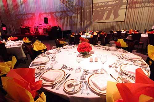 view of decorated tables for event